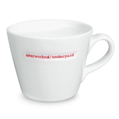 "Keith Brymer Jones Word Range ""overworked/underpaid"" Mug"