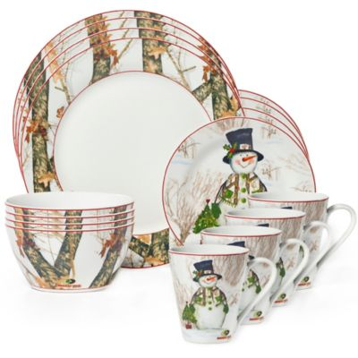 Mossy Oak® Break-Up Infinity Holiday 16-Piece Dinnerware Set