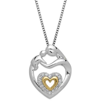 Sterling Silver and 14K Yellow Gold .09 cttw Diamond Mother's Jewel Double Heart Pendant Necklace