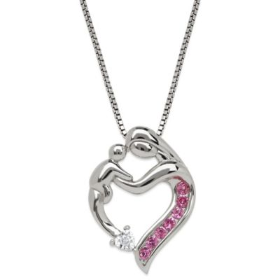 Sterling Silver .02 cttw Diamond and Created Pink Sapphire Mother's Jewel Heart Pendant Necklace