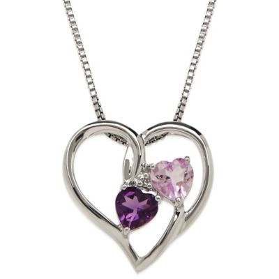 Sterling Silver Light and Dark Amethyst Diamond Accent Framed Double Heart Pendant Necklace