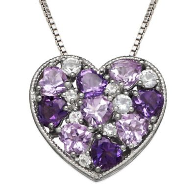 Sterling Silver Mixed Amethyst and White Topaz 18-Inch Chain Mosaic Heart Pendant Necklace