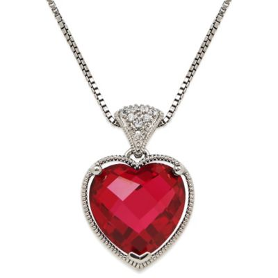 Sterling Silver Created Ruby and Created White Sapphire 18-Inch Chain Framed Heart Pendant Necklace