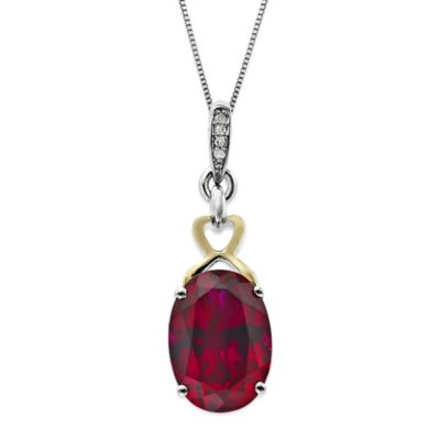 Sterling Silver and 14K Yellow Gold Diamond Accent Created Ruby 18-Inch Chain Oval Pendant Necklace