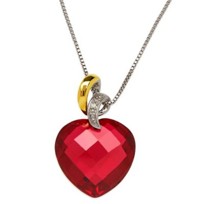Sterling Silver and 14K Yellow Gold Diamond Accent Created Ruby 18-Inch Chain Heart Pendant Necklace