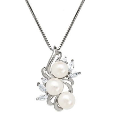 Sterling Silver Freshwater Cultured Pearl and Created White Sapphire Cluster Pendant Necklace