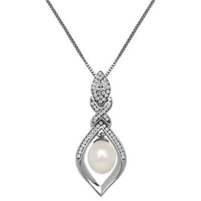 Sterling Silver Freshwater Cultured Pearl Drop Pendant Necklace MADE WITH SWAROVSKI® ELEMENTS