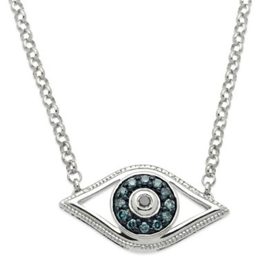Sterling Silver .08 cttw Green and Enhanced Black Diamond 17-Inch Chain Evil Eye Necklace