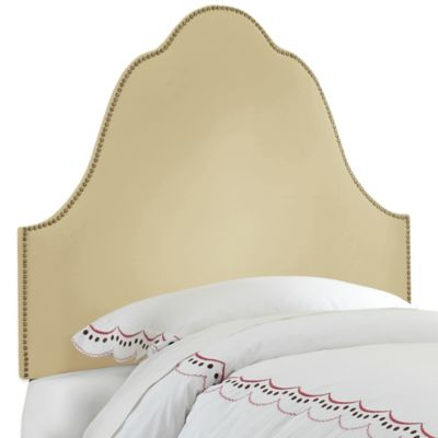 Skyline Furniture Arch Nail Button Twin Headboard in Velvet Buckwheat