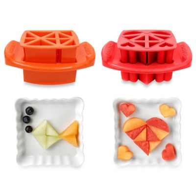 FunBites 2-Piece Shaped Food Cutter Set in Red Hearts/Orange Triangles