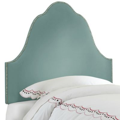 Skyline Furniture Arch Nail Button Twin Headboard in Velvet Caribbean