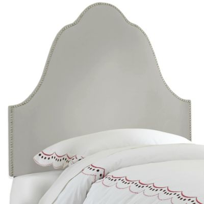 Skyline Furniture Arch Nail Button Full Headboard in Velvet Light Grey