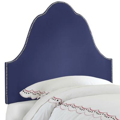 Skyline Furniture Arch Nail Button Twin Headboard in Velvet Royal