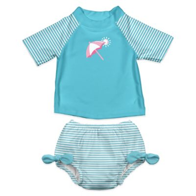 i play.® Size 18-24M 2-Piece Ultimate Swim Diaper & Beach Umbrella Rashguard Set in Aqua