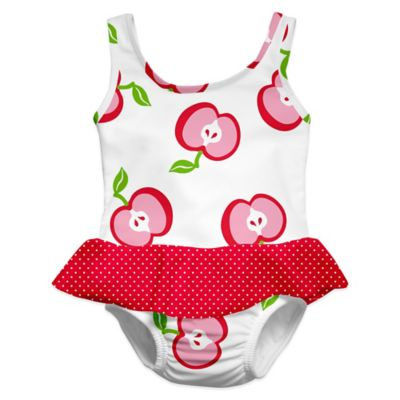 i play.® Size 2-3T Apple Ultimate Swim Diaper Skirty Tanksuit in White/Pink