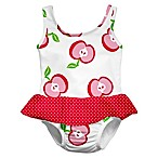 i play.® Size 3-6M Apple Ultimate Swim Diaper Skirty Tanksuit in White/Pink