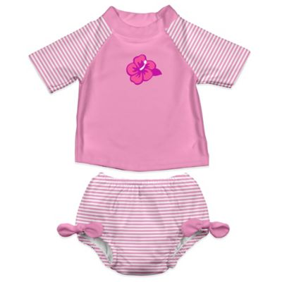 i play.® Size 12-18M 2-Piece Ultimate Swim Diaper & Hibiscus Rashguard Set in Pink