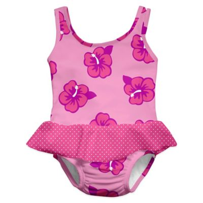 i play.® Size 2-3T Hibiscus Ultimate Swim Diaper Skirty Tanksuit in Pink