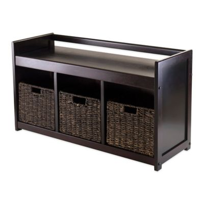 Winsome Trading Addison Storage Bench with 3 Corn Husk Baskets in Espresso/Chocolate