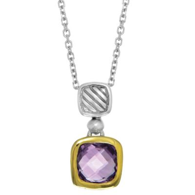 Phillip Gavriel Sterling Silver and 18K Gold Cushion Cut Amethyst Cable Pendant