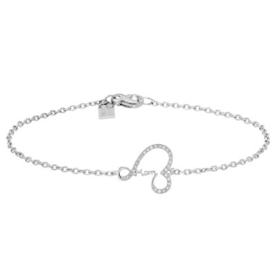 "Badgley Mischka® Sterling Silver .06 cttw Diamond Deco Heart ""Mom"" 7-Inch Bracelet"