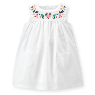 Carter's® Size 24M 2-Piece Poplin Floral Embroidered Dress and Diaper Cover Set in White