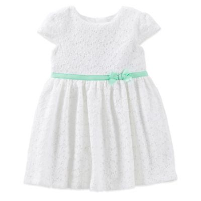 Carter's® Size 24M 2-Piece Lace Dress and Diaper Cover Set in White/Green