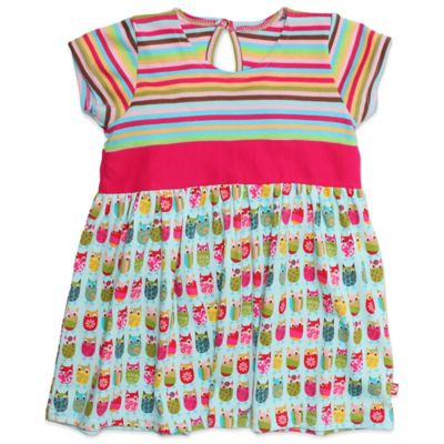 Zutano® Owls Size 6M Banded Waist Cap Sleeve Dress in Multicolor