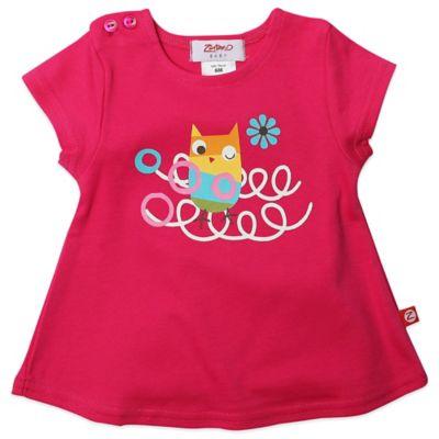 Zutano® Size 6M Owl's Nest Swing T-Shirt in Fuchsia