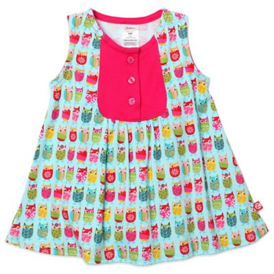 Girls' Clothing (Newborn - 4T) > Zutano® Darling Owls Size 6M Sleeveless Mini Dress in Aqua