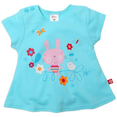 Zutano® Size 12M Bunny & Bird Swing T-Shirt in Aqua