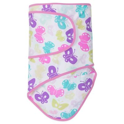 Miracle Blanket® Swaddle in Butterflies With Pink Trim