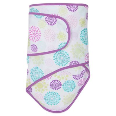 Miracle Blanket® Swaddle in Colorful Bursts with Purple Trim