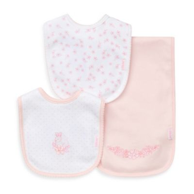Little Me® 3-Piece Bib and Burp Cloth Set in Pink/Bunny