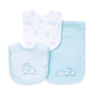 Little Me® 3-Piece Bib and Burp Cloth Set in Light Blue/Elephant