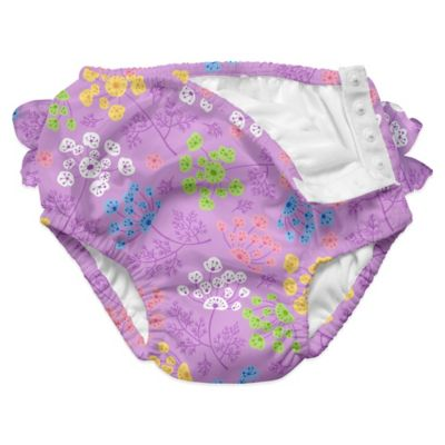 i play.® Size 6-12M Queen Anne's Lace Ultimate Ruffle Swim Diaper in Lavender