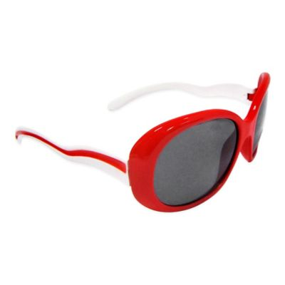 On The Verge Kids' Large-Shaped Sunglasses in Red/White