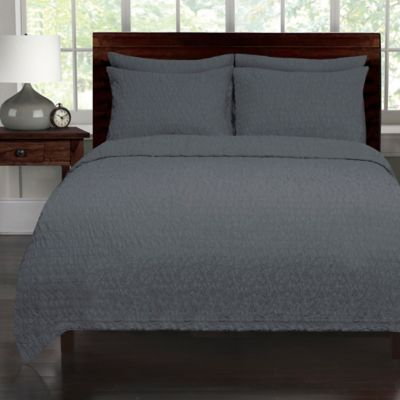 Lamont Home Seersucker Twin Coverlet in Navy