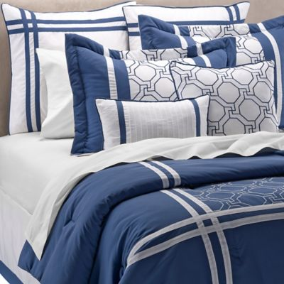 Geometric Embroidery 12-Piece Queen Comforter Set in Blue/White