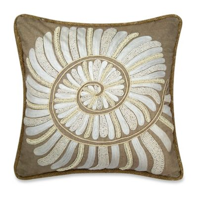 Coastal Nautilus Shell Square Throw Pillow in Ivory