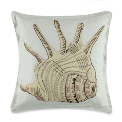 Coastal Conch Square Embroidered Throw Pillow in Ivory