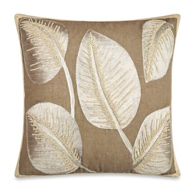 Tropical Palm Leaf Square Embroidered Throw Pillow in Ivory