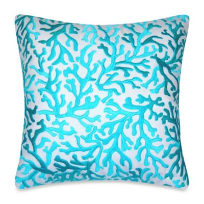 Coastal Coral Square Embroidered Throw Pillow in Aqua