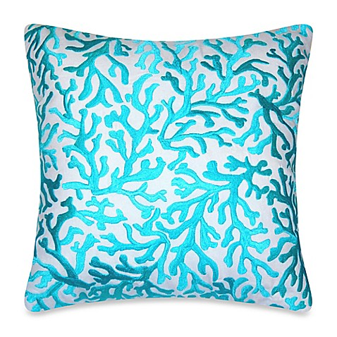 Coral Bed Throw Pillows : Coastal Coral Square Embroidered Throw Pillow in Aqua - Bed Bath & Beyond