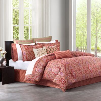 Echo Design™ Aberdeen Reversible Twin Duvet Cover Set in Madder Red