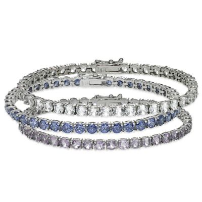 Sterling Silver 4-Prong Set 13 cttw Lab-Created White Sapphire Line Bracelet