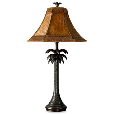Coastal Palm Tree Table Lamp with Rattan Shade and CFL Bulb