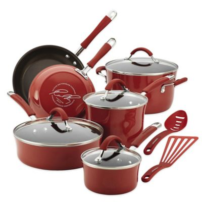 Rachael Ray Cucina 12-Piece Hard Enamel Cookware Set in Red