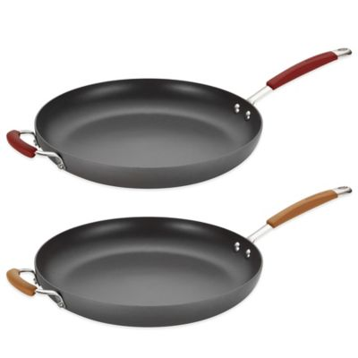 Rachael Ray Cucina 14-Inch Skillet with Helper Handle in Grey/Pumpkin