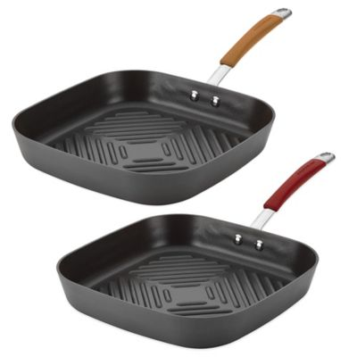 Rachael Ray Cucina 11-Inch Deep Square Grill Pan in Grey/Pumpkin